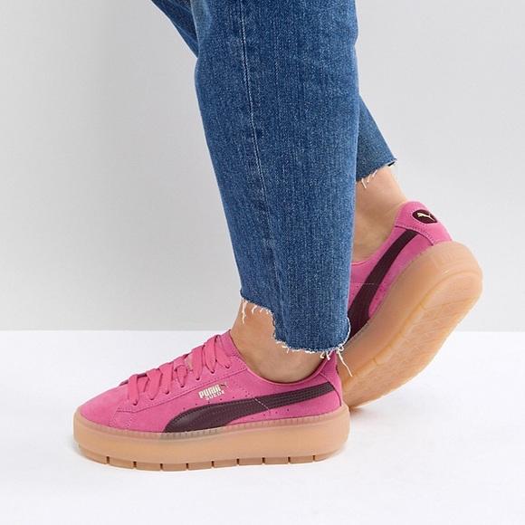 meilleur service cfb75 9d90f Pink puma platform gum bottom